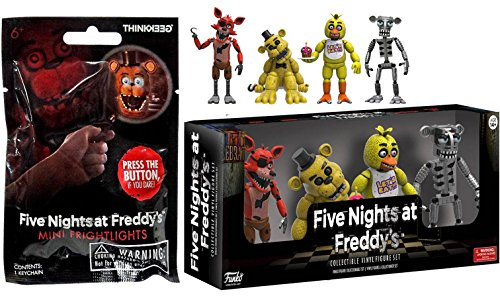 """Five Nights at Freddy's Action Figures 2"""" 4-pk Chica / Foxy / Golden Freddy & Animatronic Skeleton + Blind Bag Mini Frightlight pack"""