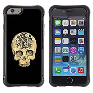 "Pulsar iFace Series Tpu silicona Carcasa Funda Case para Apple (4.7 inches!!!) iPhone 6 , Cráneo Tiempo Negro Profundo Significado Muerte"""