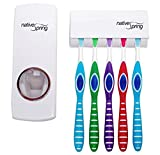Native Spring Toothpaste Dispenser and Toothbrush Holder White