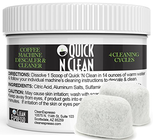 Cuisinart 4-Use Coffee Machine Descaling Solution & 2 Pack Replacement Filter Kit By Quick 'N Clean Coffee