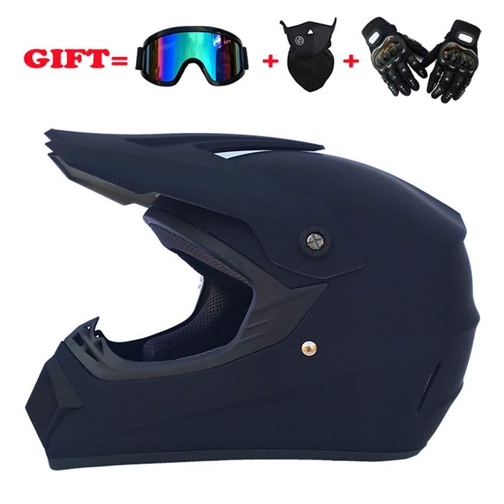 GOLDT1 フルフェイスモトクロスヘルメットロードオフロードレーシングヘルメット防風ハーフマスクとハードシェル乗馬用手袋 - 大 - マットブラックフルヘルメットヘルメット防曇 XXL  B07R9Z1466