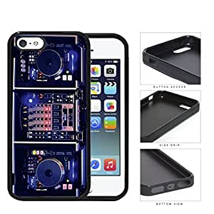 DJ Turntables With Glow Neon Lights Rubber Silicone pc Cell Phone Case Apple iPhone 5 5s