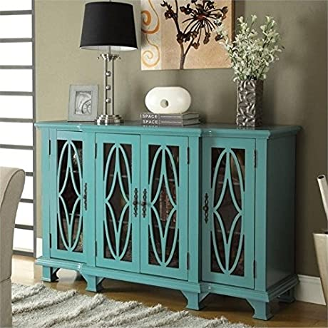 Bowery Hill Console Table With Glass Doors In Teal