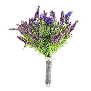 Zebratown 11'' Artificial Flowers Flower Arrangement Flocked Lavender Bouquet Real Touch Wedding Flower Plants for Party Home Hotel Decoration 14