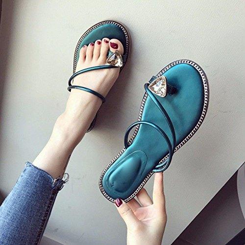 GTVERNH Sommer Big Drill Dekoration Zehen - Anti - Zehen Slip Eine Weibliche Flachen Boden Coole Schuhe Damenschuhe. Blau 7a869e