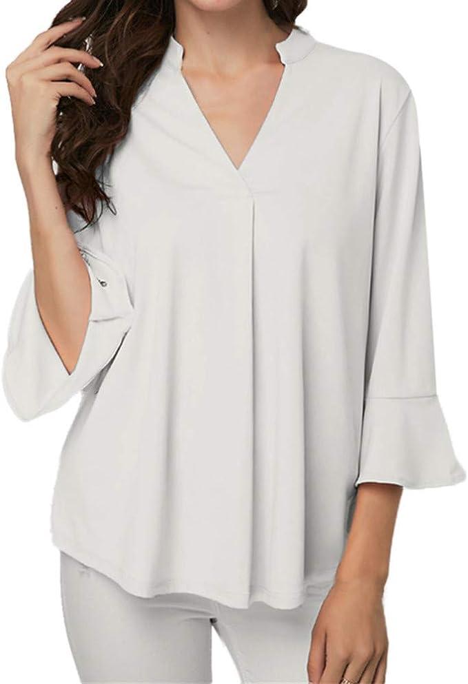 Camisa Plisada de Manga Larga con Cuello en V y Cuello Liso para Mujer Camisa Plisada Suelta: Amazon.es: Ropa y accesorios