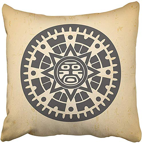 Throw Pillow Covers 20 X 20 Inches Aztec Abstract Maya Sun Symbol on Beige Mayan Inca Mexican Calendar Circle God Pillow Case Decorative Cushion Cover Two Sides Print Pillowcase ()