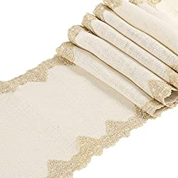 Ling's moment 12x108 inch Ivory Burlap Hessian Table Runner with Gold Victorian Lace, Spring Easter Decor Country Rustic Wedding Decorations, Farmhouse Decor, Bridal Shower Decor