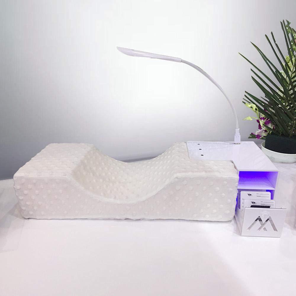 Cuscino estensibile per ciglia FOONEE impermeabile con ripiano in acrilico e USB per disinfezione Blu-ray cuscino curvo in memory foam