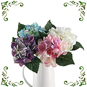 MHMJON 4pcs Artificial Flowers Slik Hydrangea Bouquet Fake Plants Flowers Arrangenment Wedding Bridal Bouquets Indoor Outdoor Home Kitchen Office DIY Hotel Table Decoration Mixcolour 32