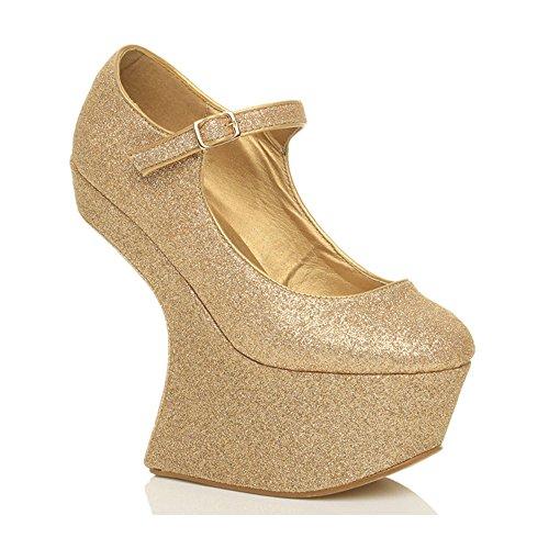 Damen Hoch Ohne Absatz Keil Pony Mary Jane Nachtklub Plateau-Schuhe Größe Gold Glitzer