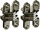 SOSS 204 Zinc Invisible Hinge with Holes for Wood or Metal Applications, Mortise Mounting, Satin Nickel Exterior Finish (Pack of 2)