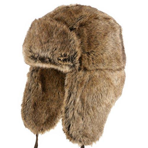 Ultrafino Huskie Ushanka Soft Faux Fur Trapper Winter Hat Ear Flaps Men and Women Brown 7 (Trappers Hat Women)