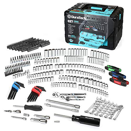 DURATECH 497PC Mechanics Tool Kit, Complete Socket Ratchet Set SAE/Metric, Cr-V Construction, Auto Repair Hand Tool Set with 3-Drawer Plastic Storage Case