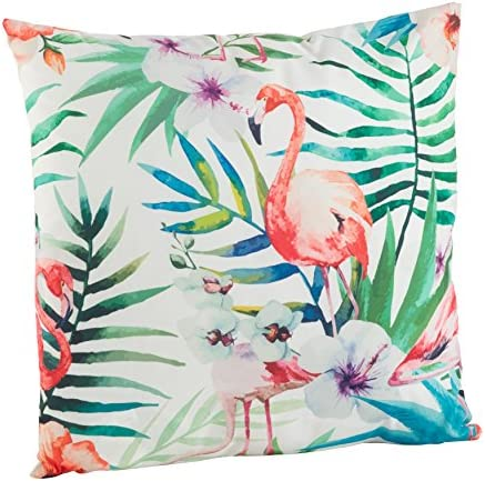 SARO LIFESTYLE Indoor Outdoor Tropical Flamingo Print Poly Filled Throw Pillow 1456.M18S , 18 , Multicolor