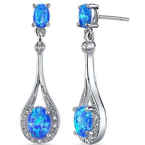 Created Blue-Green Opal Earrings Sterling Silver Oval Shape 3.50 Carats
