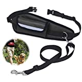 Hands Free Dog Leash, PETBABA 64-120cm/2-4FT Length Reflective Adjustable Running Lead with Waist Bag for Dogs Black