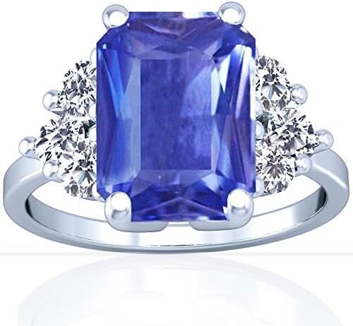 Platinum Emerald Cut Blue Sapphire Ring With Sidestones