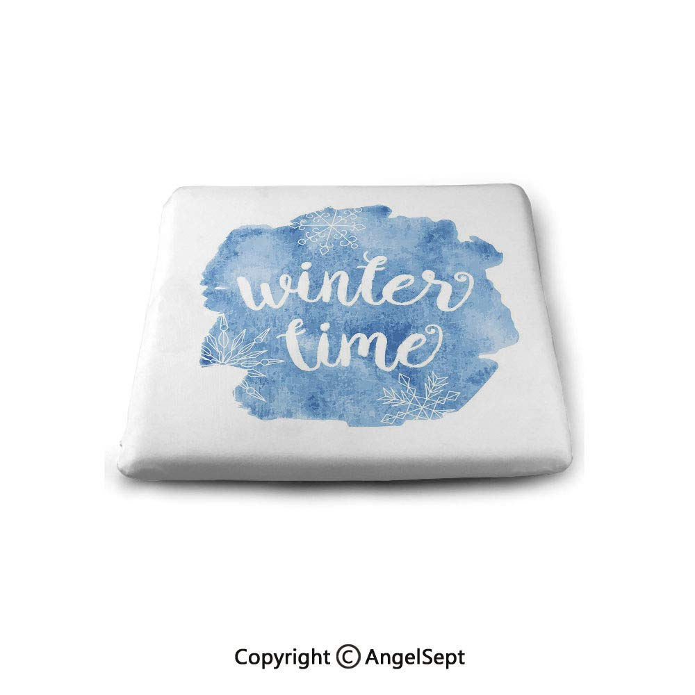 oobon Square Chair Seat Cushion for Kitchen Dining Chairs,Winter,Winter Time Typographic Design Hand Drawn Style Phrase Blue Watercolor Spot Decorative,Memory Butt Pad Non Slip