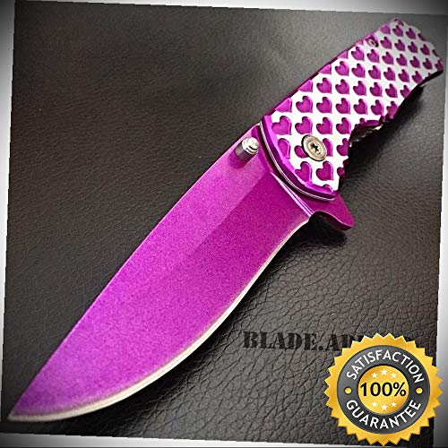 - Valentine's Day Gift Ladies Purple HEART Spring Assisted Open Pocket Knife Women - Outdoor For Camping Hunting