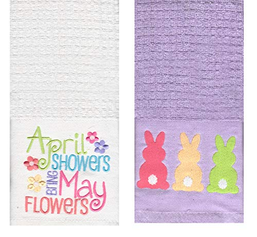 Easter Spring Kitchen Dish Towels, Set of 2, Cotton, 16x26 inches