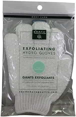 Exfoliating Gloves,White By Earth Therapeutics - Pair, 6 Pack