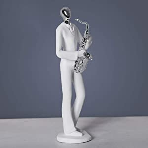 aasdf Musical Instrument Ornaments Office Living Room Home Decor,Music Band Figure Musician Statues,Modern Abstract Art Sculptures White 28x10cm(11x4inch)