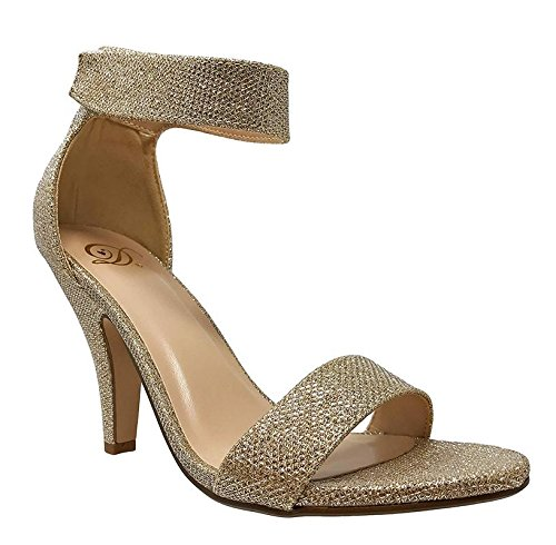 Delicious Womens Open Toe High Heel Ankle Strap Shoes Gold Shimmer ()