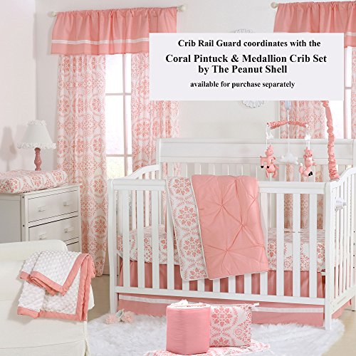 Coral Pink Medallion 100% Cotton Padded Crib Rail Guard by The Peanut Shell by The Peanut Shell (Image #5)