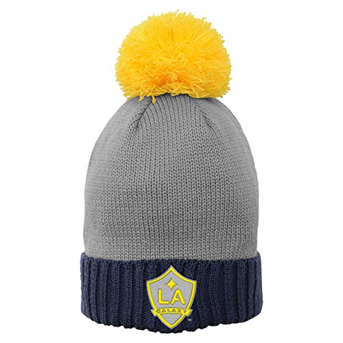 Outerstuff MLS Los Angeles Galaxy Girls Cuffed Knit Hat with Enlarged Pom Dark Navy, One Size (7-8)