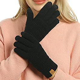 Womens Winter Touchscreen Gloves Cable Knit Warm Lined 3 Fingers Dual-layer Touch Screen Texting Mit