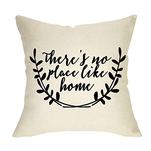 Fbcoo Rustic Farmhouse Decorative Throw Pillow Case There's No Place Like Home Cushion Cover Home Decor 18 x 18 Inch Cotton Linen for Sofa Couch (Theres No Place Like Home For The Holidays)
