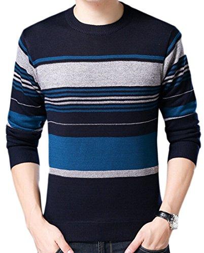 Knit Sleeve Neck amp;S 7 amp;W Round Men's Stripe Jumper M Sweater Long cC8gqRR