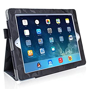 Case for iPad 2 / iPad 3 / iPad 4,GARUNK Camouflage Smart Cover Auto Sleep / Wake with Card Slots, Hand Strap and Elastic Strap for Apple iPad 2nd Generation / 3rd Gen / 4th Gen - Black