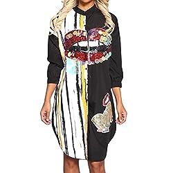 Women's Floral Print Sequin Button Shirt Dress