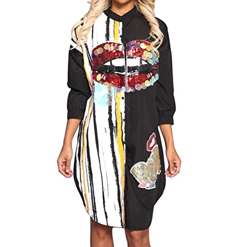 Memoryee Women's Sexy Floral Print Sequin Button Shirt Dress Long Sleeve Long Blouse Tops Black XL ()