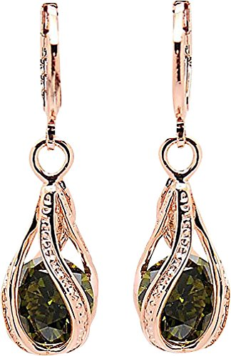 PYRAMID, Women's Classic 18K Rose Gold Plated Plate Dangle Fashion Earrings ER04A, Green