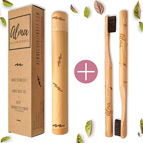 Bamboo Toothbrush x 2 ✚ Bamboo Travel Container ● Case ● Holder ● Charcoal Toothbrush Soft Bristles ● Natural Toothbrush ● Unique Pack ● Unisex ▶ Alma Eco Friendly