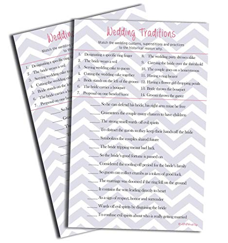 50 Wedding Tradition Game (50-sheets) Bridal Showers, Engagement Party, Rehearsal Dinner, Bachelorette Party, Hen's Night, Wedding