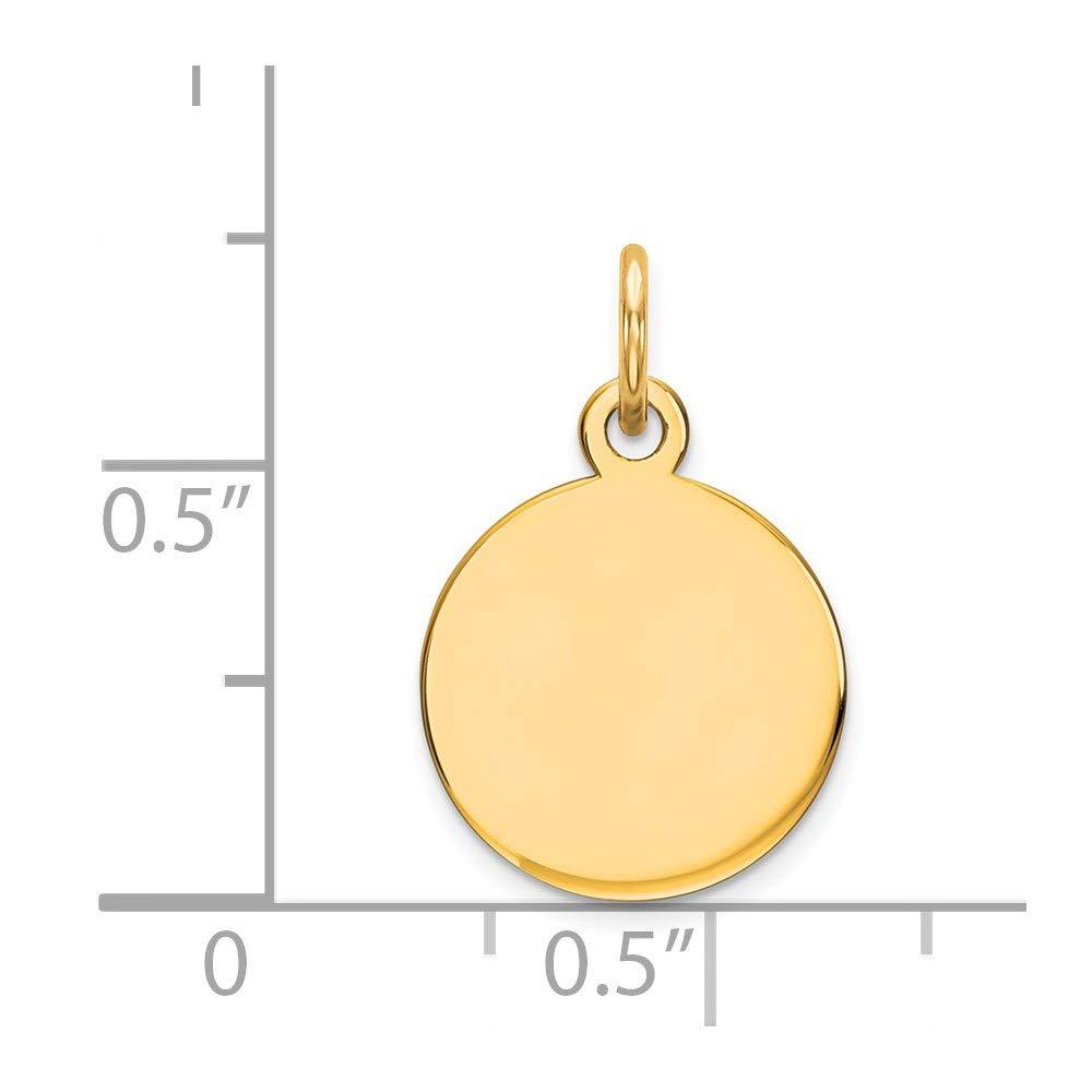 Round Engraveable Pendant Custom Name Charm Circle Disc 14K Yellow Gold