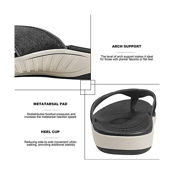 Flip Flops for Women with Arch Support - Rubber Foam Flip Flop Thong Sandals Orthotic Sandal for Women with Non-Slip Rubber Sole and Metallic PU Leather Straps