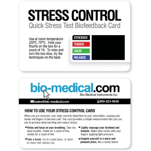 NEW Design! Quick Stress Test Biofeedback Cards with bio-medical.com Logo (20 Pack)