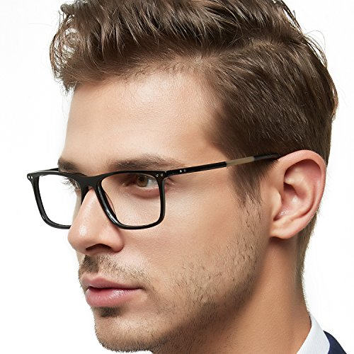 OCCI CHIARI Optical Eyewear Non-prescription Eyeglasses Frame with Clear Lenses For Mens(Black 53mm) - Black Optical Frame