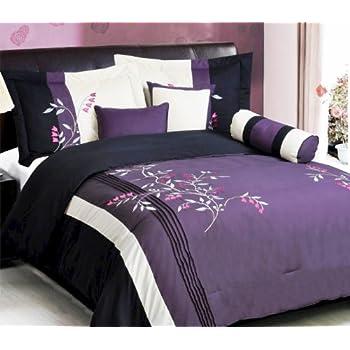 Amazon Com 7 Pc Modern Purple Black Silver Chenille