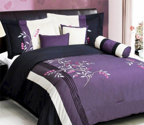 5 Piece Modern Oversize Purple / White / Pink / Black Vine Embroidered Comforter set TWIN Size Bedding