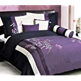 5 Piece Modern Oversize Purple / White / Pink / Black Vine Embroidered Comforter set TWIN Size Bedding