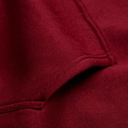Haut Pull Hommes Rouge Outwear Longue Capuche Sweatshirt Chemisier Sweat Tefamore Solide Manche À Tee qwxaYz