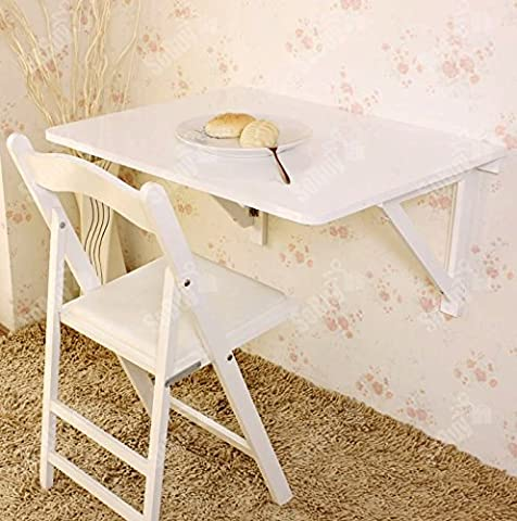 Haotian Wall-mounted Drop-leaf Table, Folding Dining Table Desk, 75×60cm, FWT05-W,white