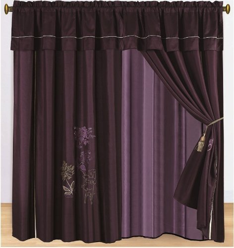 Amazon.com: Pair Of Dark Purple Embroidery Windows Curtain / Drapes /  Panels With Valance And Attached Sheer Lining.: Home U0026 Kitchen  Dark Purple Curtains