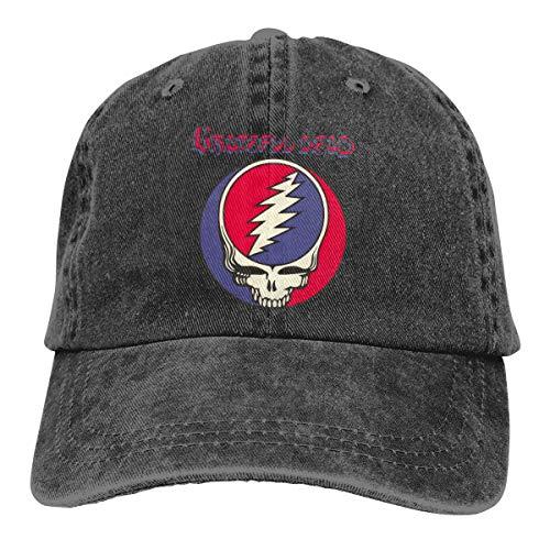 Grateful Dead Visor - DADAJINN Grateful Dead Adjustable Cross-Country Cotton Washed Denim Hats Black